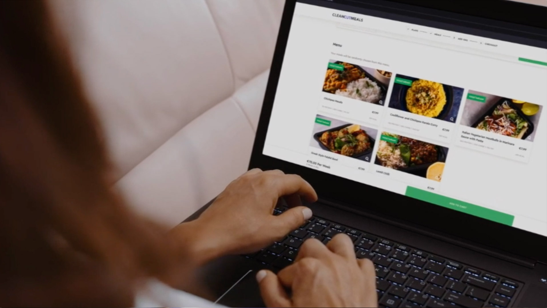 Customer ordering premade meals from the clean cut meals website